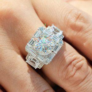 NEW 925 Silver Men's Round Diamond Halo Ring